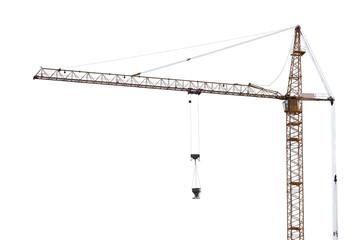 yellow hoisting crane on white