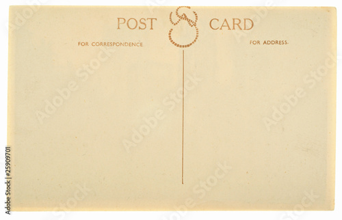 Blank Antique Back of Postcard Isolated on White