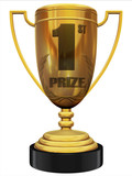 first prize 3d trophy poster