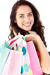 Brght woman holding shopping bags