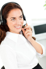 Bright woman wearing a headset
