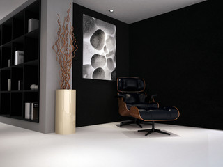 A modern classic chair in a luxury designed study lounge room