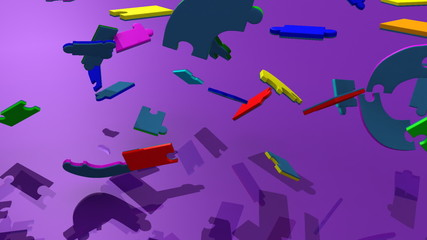 pieces falling to form teambuilding against purple background