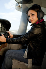 Woman at airplane controls