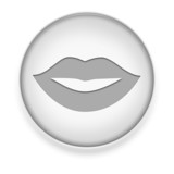 "White Button / Icon ""Mouth / Lips Symbol"""