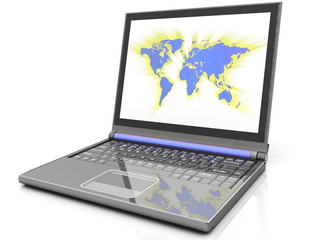 map on laptop