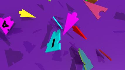 3d pieces forming teambuilding against purple background