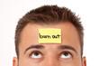 Haftnotitz auf der Stirn - burn out