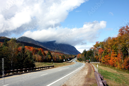 Road and mountains in autumn