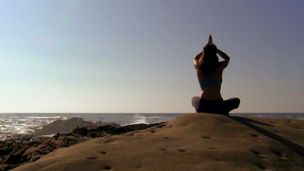 Yoga in coastal landscape - HD
