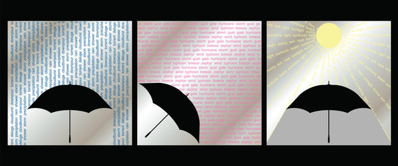 Collection of three weather related graphics wind rain sun
