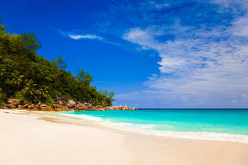 Tropical beach at island Praslin, Seychelles