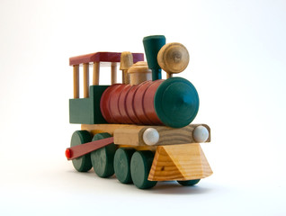 Toy Train Engine on white