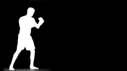 Boxer Sparring in Slow Motion (inverted silhouette)