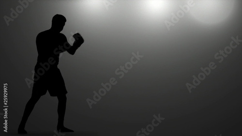 Boxer Warms Up Under Lights