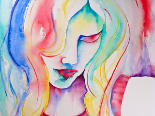 Watercolor Painting Of Woman Looking Down