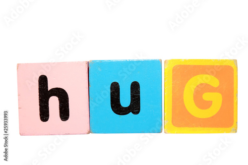 hug in toy play block letters with clipping path on white