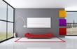 colored minimalist living room