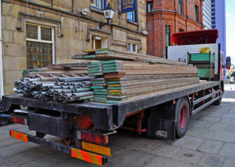 Lorry with scaffolding
