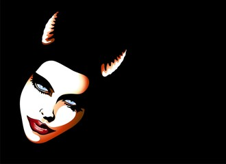 Donna Diavolo Sfondo-Devil Woman Background-Vector