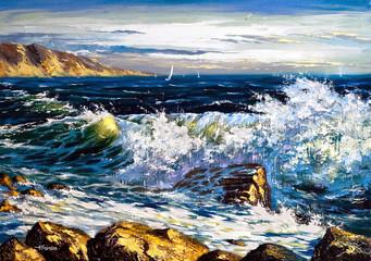 Storm waves on seacoast
