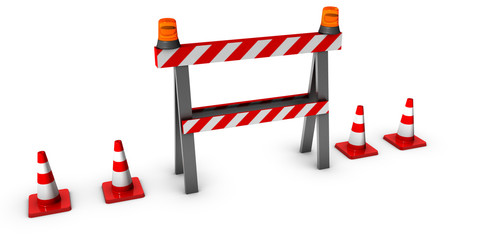 3d construction and caution sign with traffic cones