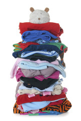 Pile of children's warm fluffy clothes | Isolated