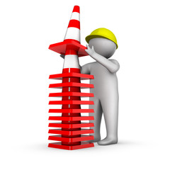 3d man with stack of traffic cones