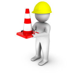 3d worker with traffic cone