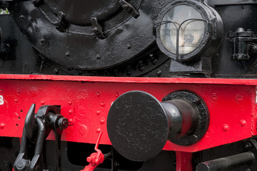 Old steam engine train close-up