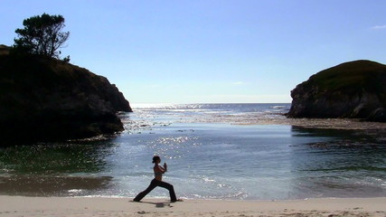 Yoga on dramatic beach - HD