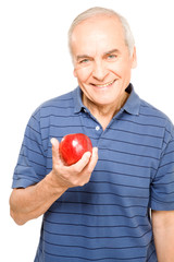 Grandfather eating an apple