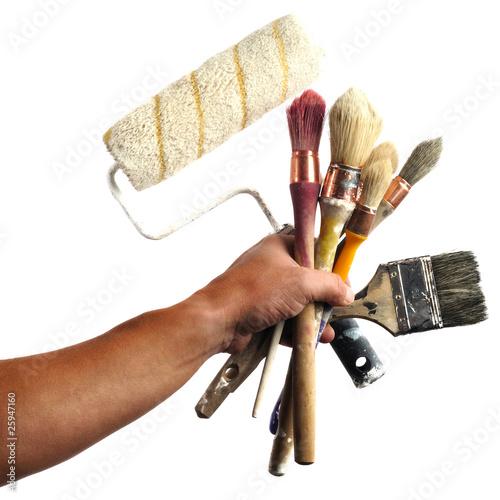 pinceaux outils peinture rouleau d coration main travaux de cdrcom photo libre de droits. Black Bedroom Furniture Sets. Home Design Ideas