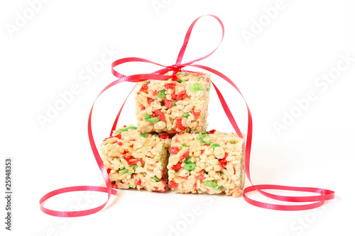 Christmas Rice Cookies with red ribbon
