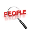 find people icon - people 3d letters under the magnifier