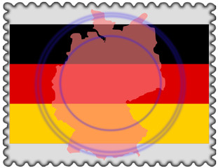 Germany map flag stamp