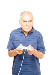 Grandfather playing video games