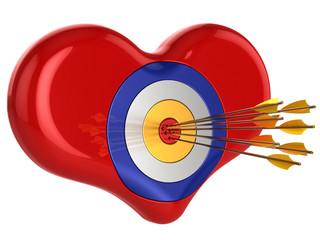 Love 700 percents. Heart as target pierced by seven arrows