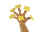 Post it notes on fingers