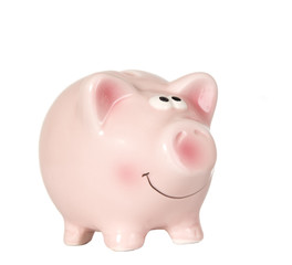 Pig is smiling and standing without money