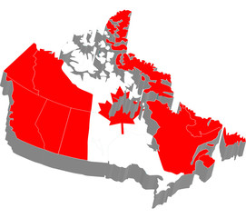 3d map with flag of Canada