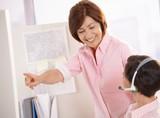 Senior supervisor helping customer care operator poster