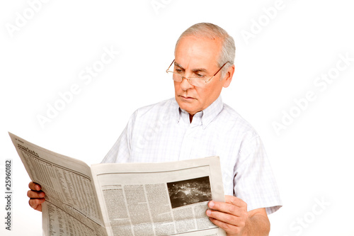 Grandfather reading a newspaper
