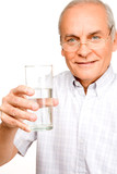 Pensioner with a glass of water poster