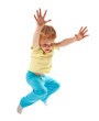 Happy jumping boy isolated on white