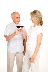 Seniors couple drinking wine