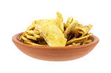 Cooked plantain banana pieces in small dish poster