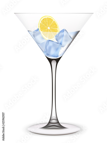 Cocktail with ice and lemon. Vector illustration.