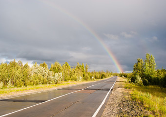 rainbow  on highway