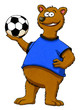 Comic - Lachender Bär hält Fußball in der Hand